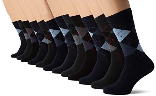 FM London 12-Pack Men's Smart Breathable Socks, Black (Argyle), 6-11 UK