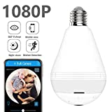 Light Bulb Security Camera WiFi,1080P Wireless Security Camera Bulb,2MP Fisheye 360° Panoramic Remote Light Cameras/Motion Detection/Night Light