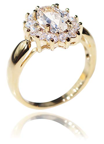Ah! Jewellery Ladies Stunning 8mm x 6mm SEMI PRECIOUS White Topaz Stone UK Guarantee: 3µ. Gold Filled Ring Surrounded By Brilliant Rounds. 3.6GR. (L)