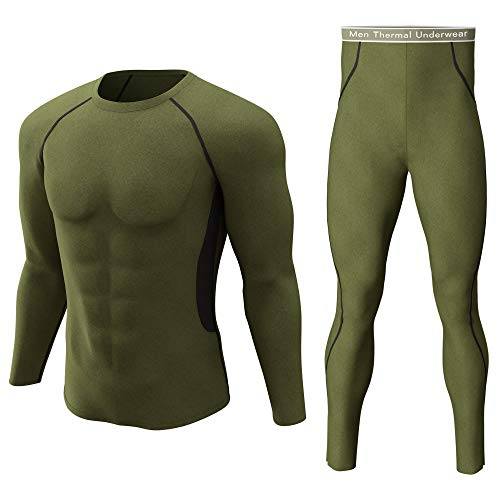Thermal Underwear Set Winter Hunting Gear Sport Long Johns Base Layer Bottom Top Army Green with Black L