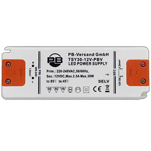 30 Watt LED Leuchmittel Trafo 12V DC Ultra-Slim (flaches Design) 1-30 Watt Netzteil Treiber Transformator - PB-Versand®