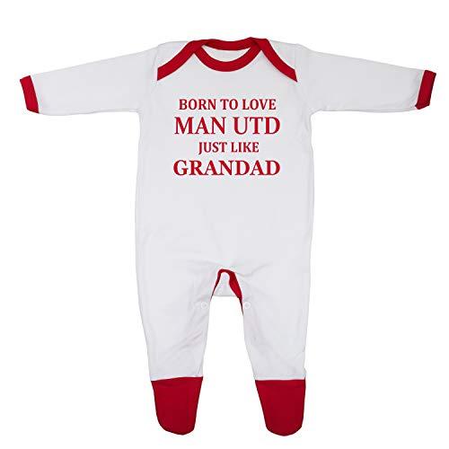 Bañador para bebé con texto en inglés «Born To Love Man Utd Just Like Grandad», diseñado e impreso en el Reino Unido con 100% algodón peinado fino