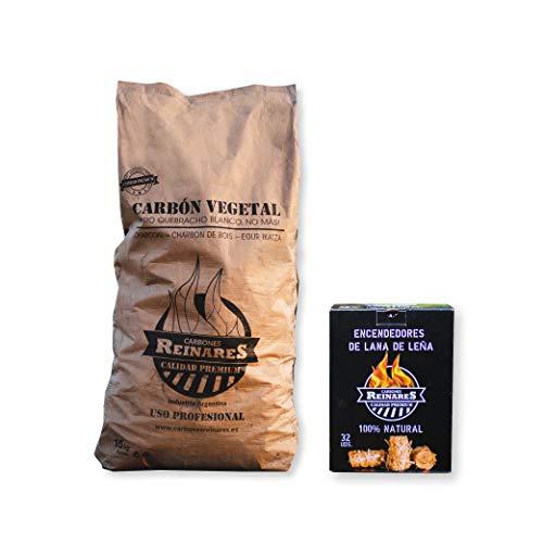 Carbon Vegetal Barbacoa Natural sin Humo carbones para barbacoas de Quebracho Blanco Argentino Alto Poder calorifico White Edition (Carbón Vegetal, 1 Saco + Caja 32 Encendedores)