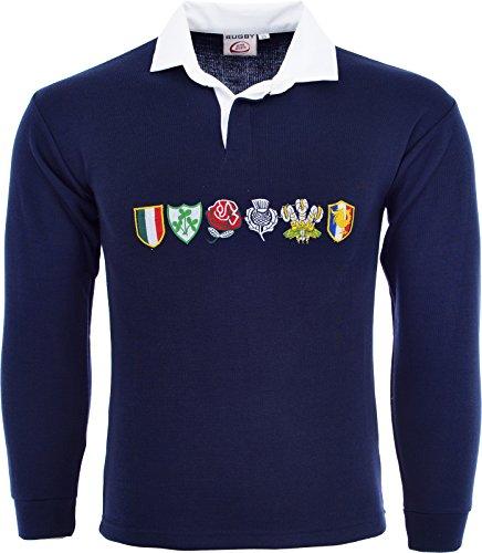 Polo de rugby à manches longues pour homme - Tournoi des 6nations - plusieurs tailles disponibles - Bleu - S