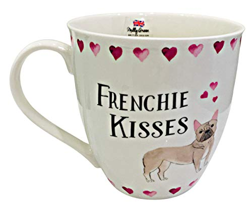 Dog Lover Frenchie / French Bulldog Ceramic Coffee Mug by Milly Green inscribed: Frenchie Kisses with Hearts | British Design
