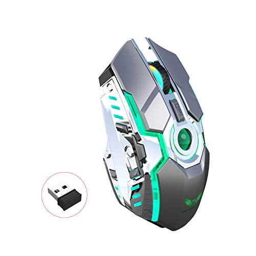LBWLB Draadloze gamingmuis, 2,4 G spelbare draadloze gamer-muis 7 toetsen, 3 instelbare dpi, 10 miljoen levenslange klikken, professionele optische computer draadloze muis met nano-ontvanger zilver