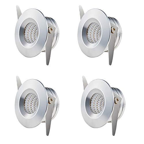 Twstyfal 4 Faretto da incasso cromato 3 W bianco caldo piccolo diametro esterno 30 mm Downlights rotondo Mini faretti da incasso per armadio, vetrine, illuminazione da soffitto