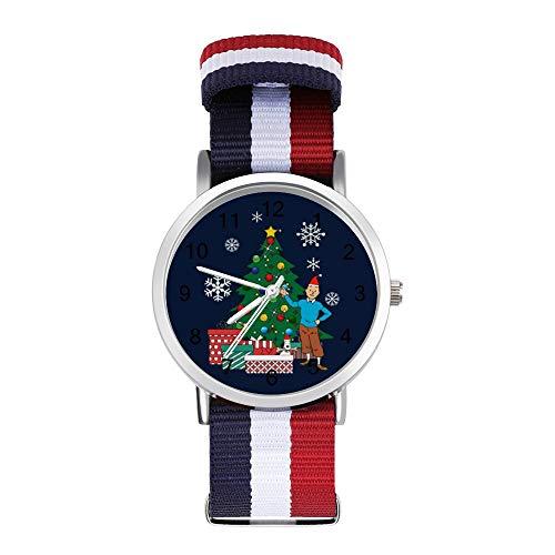 Tintin and Snowy Around The Christmas Tree Reloj de pulsera trenzado con escala