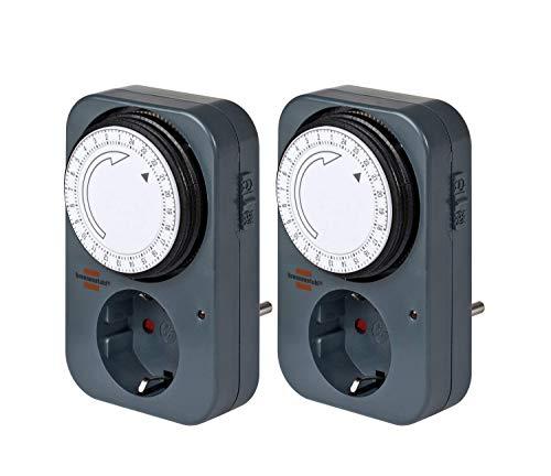 Brennenstuhl Zeitschaltuhr MZ 20, mechanische Timer-Steckdose (Tages-Zeitschaltuhr mit erhöhtem Berührungsschutz) grau (2)