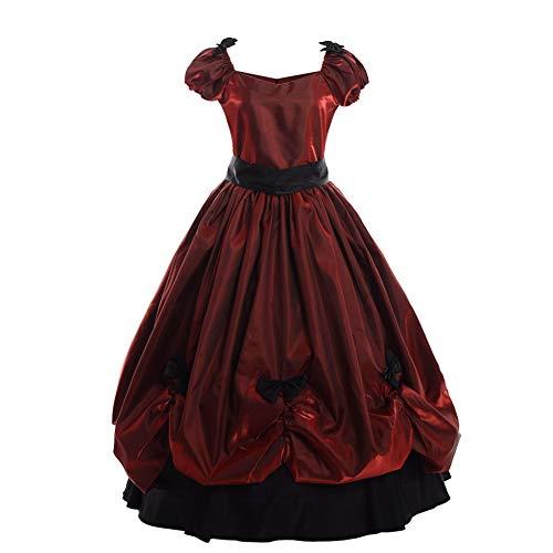 GRACEART Vestido Victoriano Estilo Bowknot de Estilo Vintage para Mujer Vestido de Fiesta gótico Vestido de Fiesta Elegante (XL, Rojo)