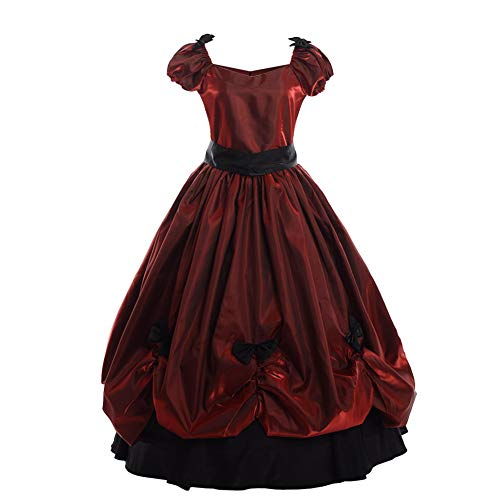 GRACEART Damen Abendmode Vintage Frauen Viktorianischen Bowknot Kleid Gothic Ballkleid Elegante Abschlussball voll (M, Rot)