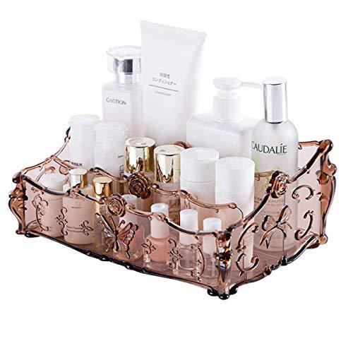Tao Große Kapazität Make-up Veranstalter Vintage Badezimmer Kosmetik Aufbewahrungsbox Make-up Vitrine 25 * 16 * 6 cm (Farbe : Kaffee - Farbe)