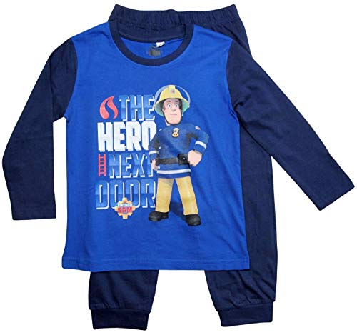 Feuerwehrmann Sam Schlafanzug Jungen Lang (Blau-Marine, 116; Prime)