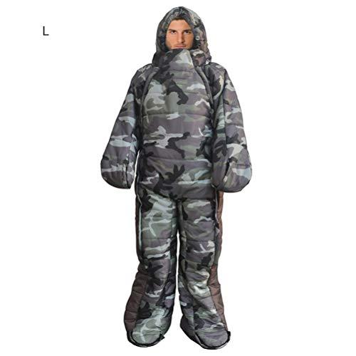 Macabolo Full Body Draagbare Walk-Around Slaapzak Draagbare Waterdichte Mummy Slaapzak Rugzak voor Camping, Wandelen en Outdoor Activiteiten L Camouflage
