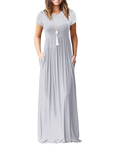 Kidsform Maxi Kleid Damen Casual Sommerkleid Kurzarm Lange Kleid Mit Tasche Lose Strandkleider HoheTaille M