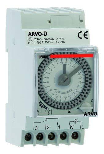 Vemer vp882500 Interrupteur horaire électromécanique arvo-d journalier de Barre dIN, Gris