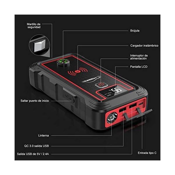 YABER Arrancador de Coches, 23800mAh 2500A Arrancador de Baterias de Coche (para Todo vehículo de Gasolina o 8.0L de Diesel), con Cargador Inalámbrico y Linterna LED, Brújula,Martillo de Seguridad