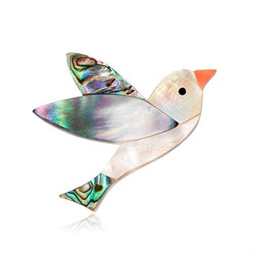 Baiyao Broche de pájaro para mujer, diseño de pájaros, diseño de concha de abulón natural, para mujeres y hombres