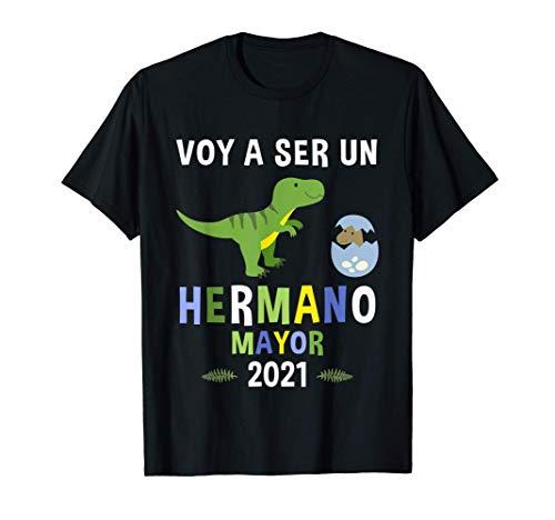 T-Shirt Voy A Ser Un Hermano Mayor 2021 Dinosaurio Camiseta