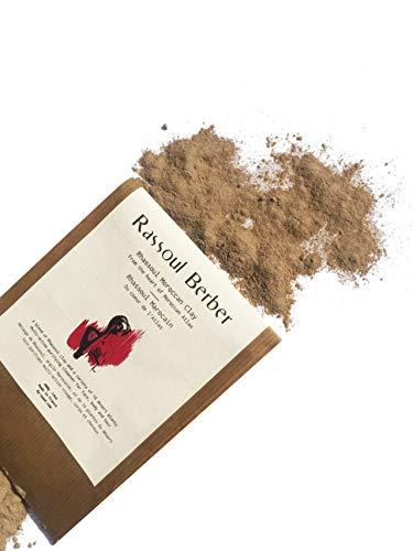 Rhassoul (Ghassoul) arcilla en polvo con 14 plantas. Arcilla Limpiadora y Mascarilla para Cara y Pelo 100% Orgánica 50 Gr