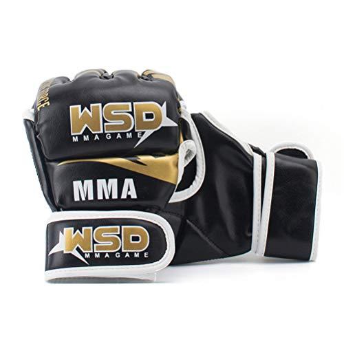 Boxhandschuhe Pu MMA Halb Kampf Handschuhe Muay Thai Training Breathable Männer Fitness für Erwachsene Freie Größe (einstellbar),Gold