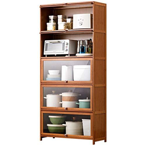 Horno de microondas de piso a techo multifuncional Multi capa Spice Shelf Kitchen Storage Suministros de almacenamiento Hogar Estante de panadero de cocina ( Color : Marrón , Size : 172x32x60cm )