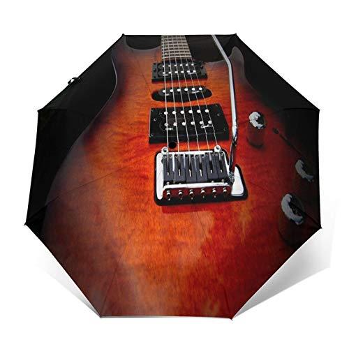 TISAGUER Paraguas automático de Apertura/Cierre,Una Guitarra eléctrica de Madera roja atrapada en...