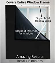 "Blackout Window Cover Blocks Light, Blocks Noise, Saves Energy. Covers Entire Window Frame. Great for Bedroom Windows, Privacy, and More - Sleep Better 39"" Wide X 72"" Long (Black)"