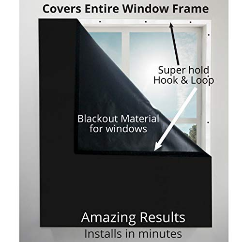 Blackout Window Cover, Dark Room YES, Amazing Blocks Light, Blocks Noise, Quiet Time. Covers Entire Window Frame. Great for All Windows, Privacy, Sleep Better Guaranteed -39' Wide X 72' Long (Black)