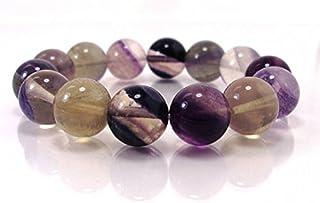 Pulsera de cuentas de fluorita de 14 mm, pulsera de piedras naturales, unisex, pulsera de cuentas hecha a mano, 19 cm