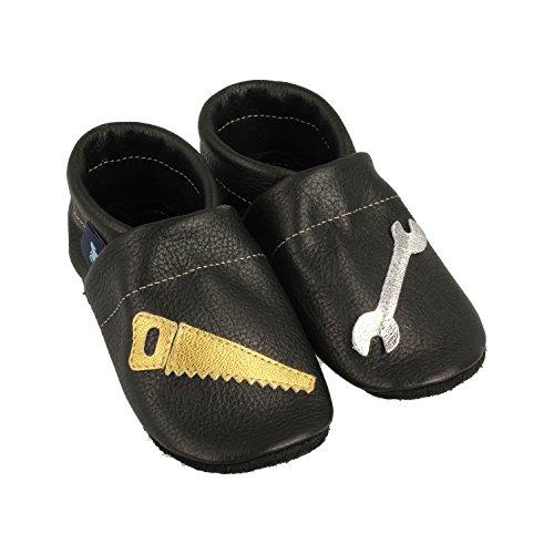 Pantau IT'S A SMALL WORLD Chaussons d'éveil et chaussons en cuir avec outils - Pour enfants et adultes - 100 % cuir - Fait main - Noir - Noir/argenté/doré., 27 EU