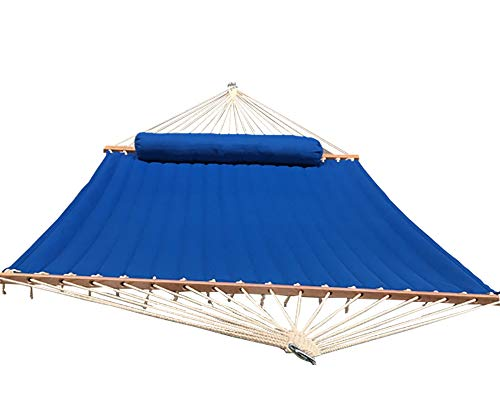 Hammock Universe Premium Quality olefin Double Quilted Hammock with Matching Pillow – Best olefin Double Quilted Hammock – Double olefin Quilted Bed (Holds up to 450 pounds) … (Lite Blue)