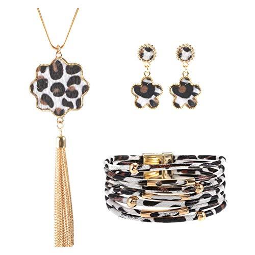 DSJTCH Collar de Pulsera de Cuero de aleación Conjunto de Joyas de Anillo de Oreja de Moda de Mano Europea y Americana (Color : F)
