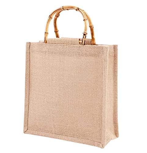 Phantasy】Borsa Juta con manico in bambù artistico impermiabile, borsa da donna in iuta ,Borsa per la Spesa portatile ( S = 26*27*10cm )