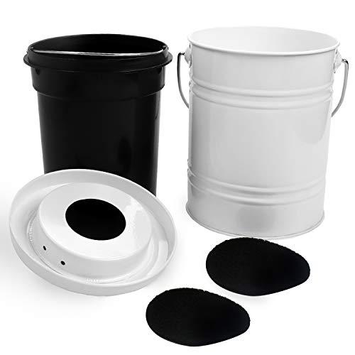 BELLE VOUS Cesto de Compost de Cocina – Cubo de Basura Blanco 4lt para Restos de Comida y Cesto Interno 2,5lt Negro de Plástico – Compostador Metal para Interiores con 2 Filtros de Carbón para Comida