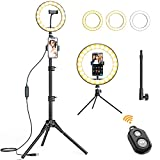 Amada 10' Selfie Ring Light with 65'' Tripod Stand and 3 Phone Holders, Dimmable Camera LED Ring Light Circle Light for Makeup/Live Streaming/YouTube Videos/Photography.