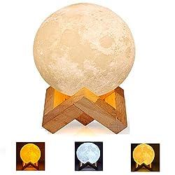 YAOJU LED Mond Lampe, Mood Lampe Touch LED Nachtlicht,15cm 3D Mondlampe, 3 Farben Auswählbar und dimmbar Nachtlicht,USB Wiederaufladbar, Geschenke für Schlafzimmer Deko