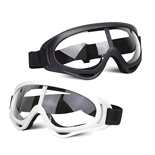 POKONBOY 2 Pack Protective Goggles / Safety Glasses / Motorcycle Eyewear with Bandanas - Compatible with Nerf Game Battle for Kids (Black & White)