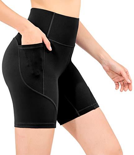 OVRUNS Damen Kurz High Waist Sporthose Kurze Hose Leggings Yoga Laufhose Shorts mit Eingrifftasche - Schwarz S