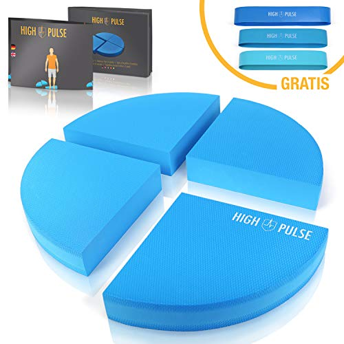 High Pulse® XXL Balance Pad inkl. 3X Fitnessbänder + Poster – Balancekissen für EIN verbessertes Gleichgewicht, Koordination und Stabilität (Blau | 4 TLG.)