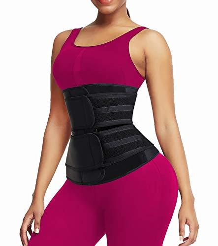 QEESMEI Neoprene Sweat Waist Trainer Corset Trimmer Belt for Women Waist Cincher Shaper Slimmer(Black-2 Straps,Small)