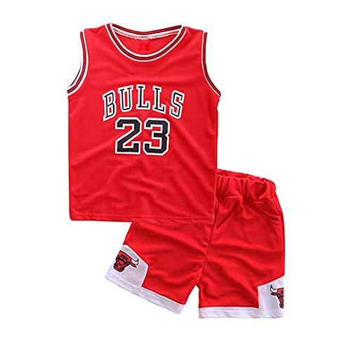 Angel ZYJ Ragazzi Ragazze Chicago Bulls Jordan 23 Pantaloncini da Basketball Jersey Set di Abbigliamento Sportivo Maglie Top e Shorts (Rosso#23, m)