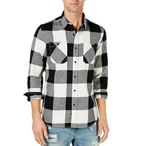 American Rag Mens Check Button Up Shirt white S