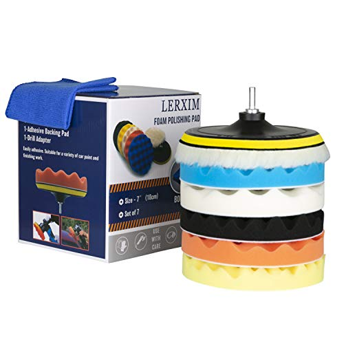 LERXIM 7-Inch Car Polishing Pad & Buffing Pads Kit in Pack of 7 Featuring M14 Drill Adapter, Soft Microfiber Cloth Included, Car & Boat Polisher Buffer Pads for Washing, Cleaning & Waxing
