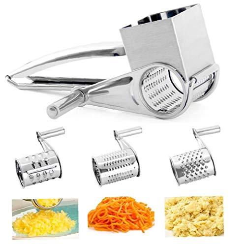 ZYCX123 Queso rotatorio rallador de Queso -Acero Acero del rallador Shredder Cortador Amoladora con 3 Herramientas Tambor de Las Cuchillas de Cocina
