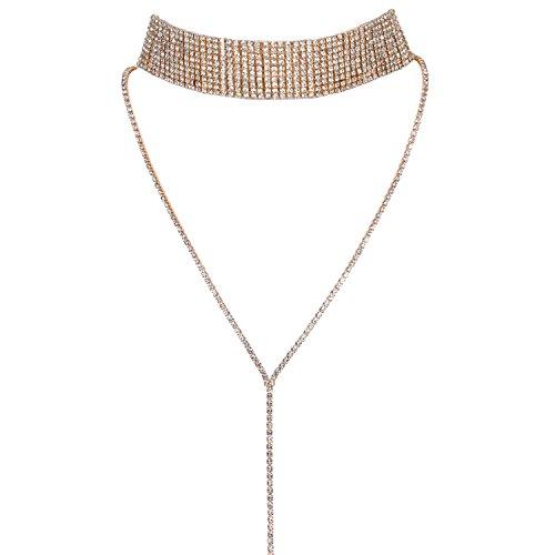 JewelryWe Choker Gargantilla Brillante para Mujer Joven, Choker Collar de Diamantes Imitacion Gargantilla de Metal Retro Vintage para El Verano