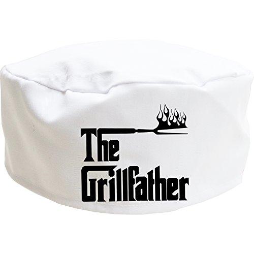 Cookify Grillfather Gorro de chef con calavera, regalo divertido para hombres, mujeres y niños (adultos, blanco)