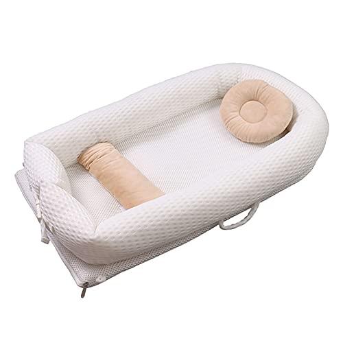 WXHXSRJ Nido para bebé portátil, Tumbona para bebé, Cuna para Cama, Nido para bebé, con Almohada y Almohadilla para los pies, cápsula para Dormir para bebés de 0-24 Meses,Blanco,A