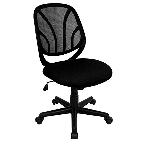 Flash Furniture Y-GO Office Chair, BIFMA Certified Mid-Back Black Mesh Swivel Task Office Chair, BIFMA Certified