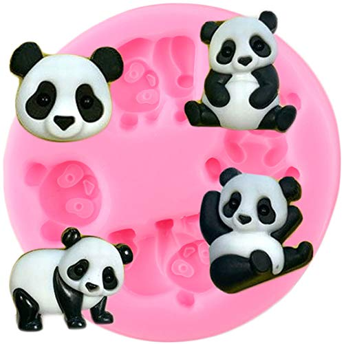 YNNN Panda Oso de Silicona Molde de Silicona Candy Clay Jabón de Chocolate Moldes de Resina de Baby Party Cupcake Topper Fondant Torta Decoración Herramientas